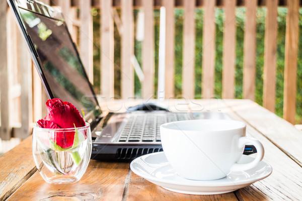 удобный работу станция ноутбука кофе складе Сток-фото © nalinratphi