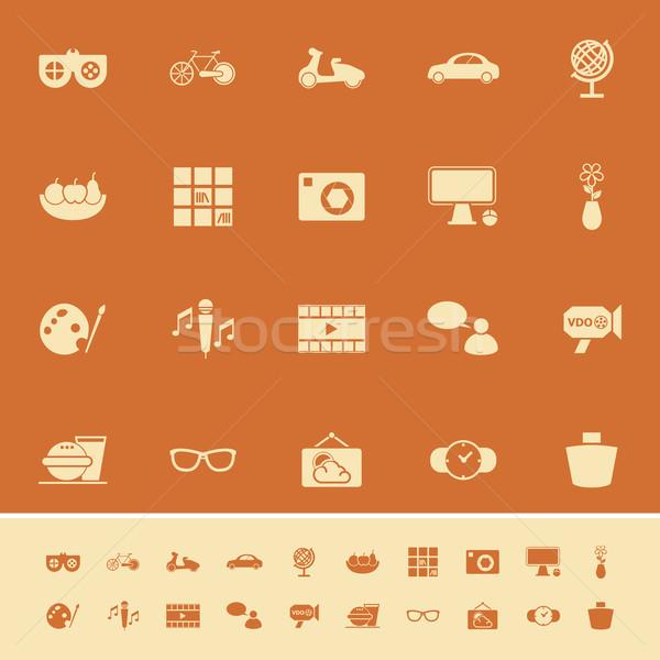 Ulubiony jak kolor ikona pomarańczowy czas Zdjęcia stock © nalinratphi