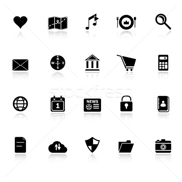 General application icons with reflect on white background Stock photo © nalinratphi
