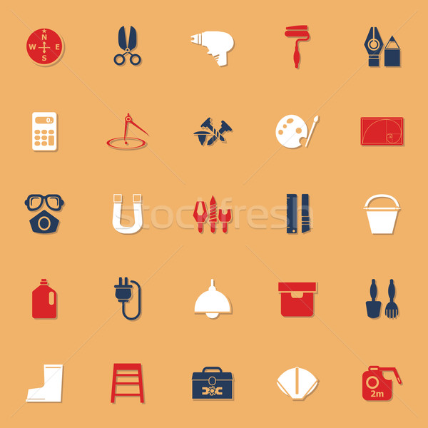 DIY tool icons with reflect on white background Stock photo © nalinratphi