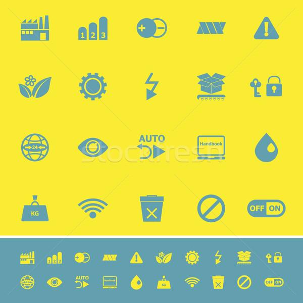 Elektronikus felirat szín ikonok citromsárga stock Stock fotó © nalinratphi
