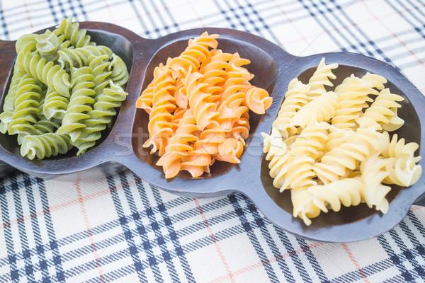 Multicolor fusilli prepare for pasta cuisine Stock photo © nalinratphi