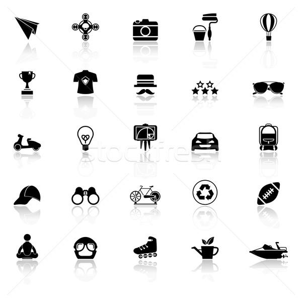 Icone bianco stock vettore occhiali Foto d'archivio © nalinratphi