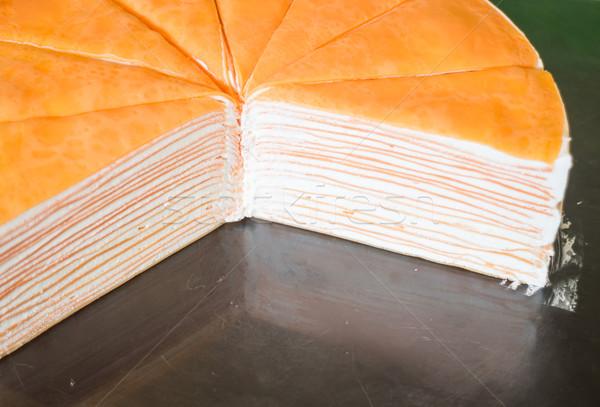Homemade cream crepe cake slide Stock photo © nalinratphi