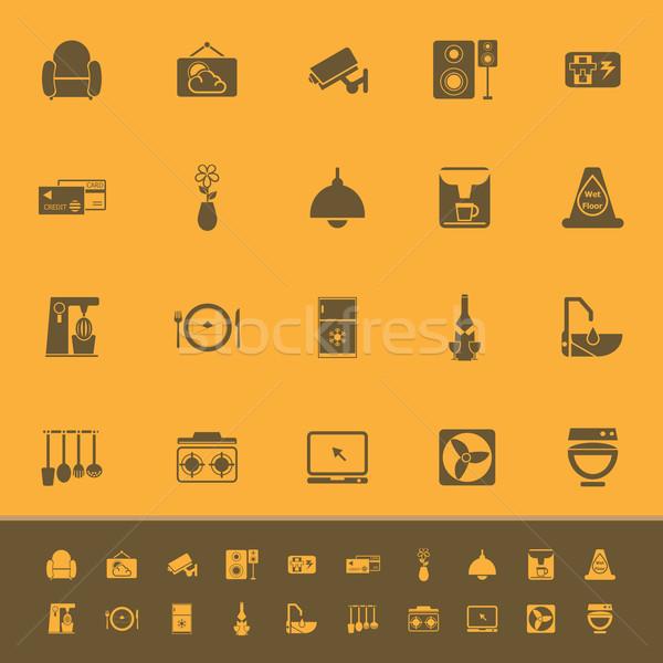 Cafe restaurant kleur iconen oranje voorraad Stockfoto © nalinratphi