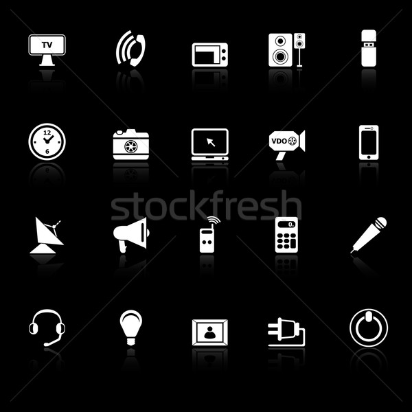 Stock photo: Electronic icons with reflect on black background