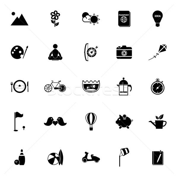 Slow life activity icons on white background Stock photo © nalinratphi