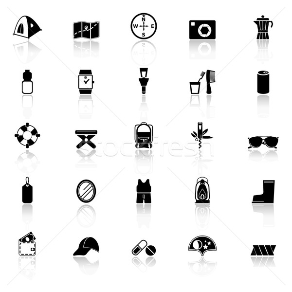 Camping necessary icons with reflect on white background Stock photo © nalinratphi
