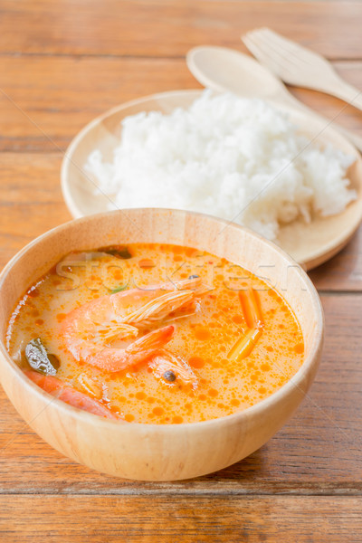 Spicy soup and jasmine rice thai easy meal Stock photo © nalinratphi