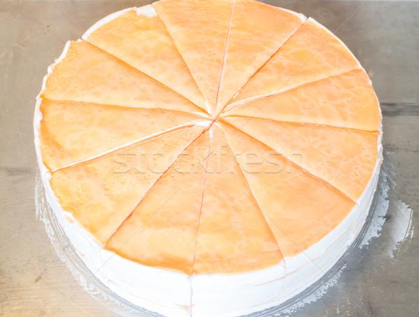Eigengemaakt slagroom crêpe cake voorraad foto Stockfoto © nalinratphi