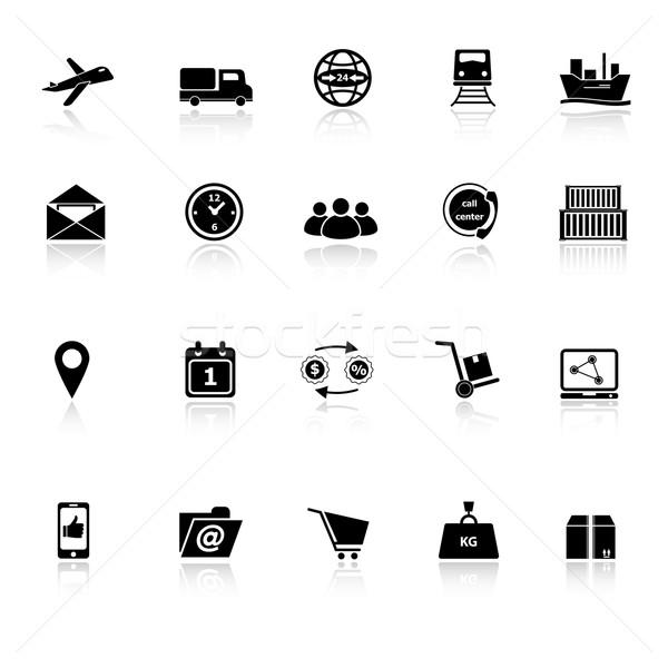 иконки белый складе вектора деньги окна Сток-фото © nalinratphi
