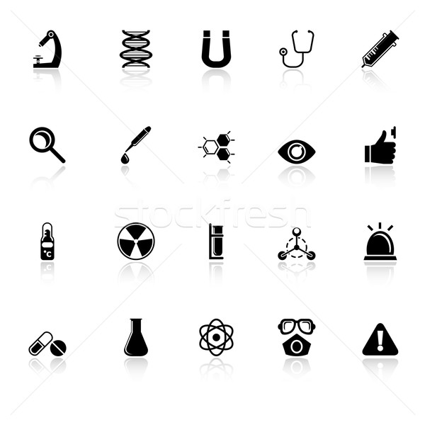 Science icons with reflect on white background Stock photo © nalinratphi