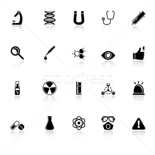 Scienza icone bianco stock vettore medici Foto d'archivio © nalinratphi