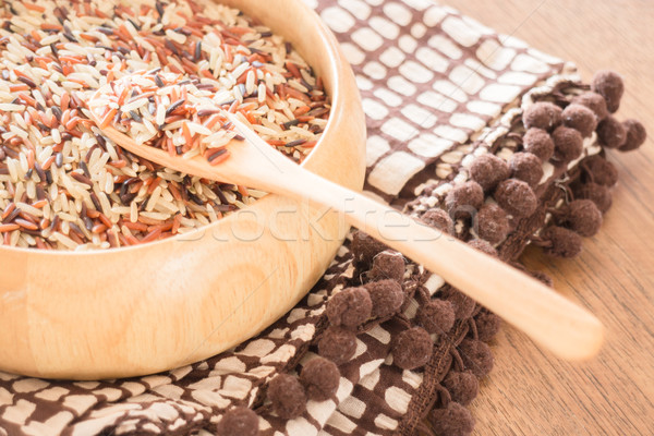 Multi whole grain of organic jusmine rice Stock photo © nalinratphi