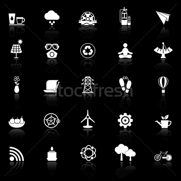 Clean concept icons with reflect on black background Stock photo © nalinratphi