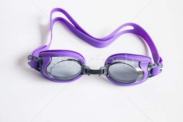 Roxo nadar óculos de proteção isolado branco estoque Foto stock © nalinratphi