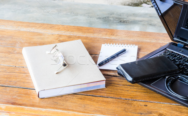 Wherever working table with laptop and stationary Stock photo © nalinratphi
