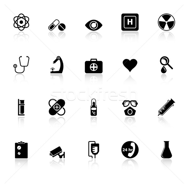 General hospital icons with reflect on white background Stock photo © nalinratphi