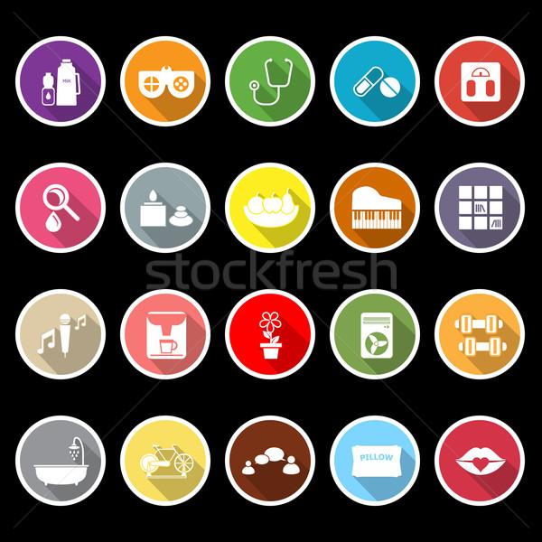 Wellness icons with long shadow Stock photo © nalinratphi