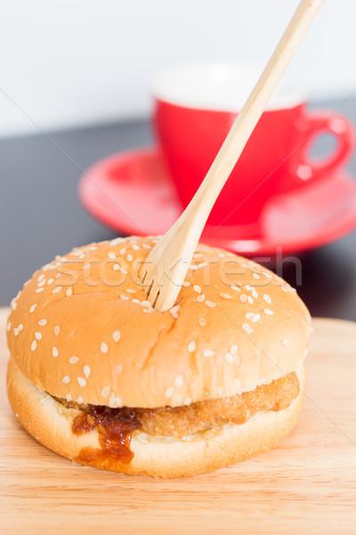 Delicious deep fried pork burger Stock photo © nalinratphi