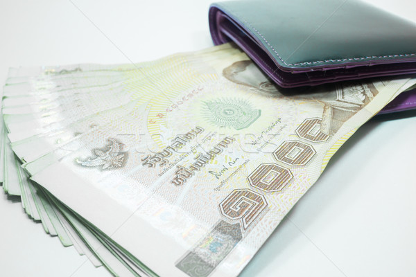 Thai money banknote in the wallet Stock photo © nalinratphi