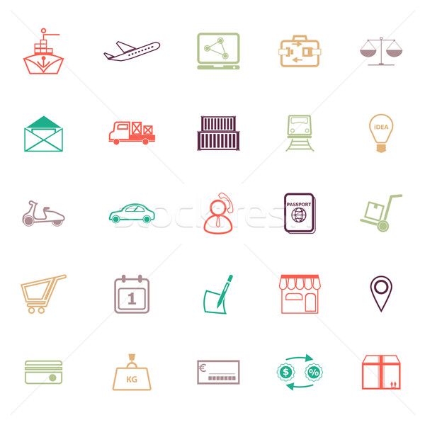 International business line icons flat color Stock photo © nalinratphi