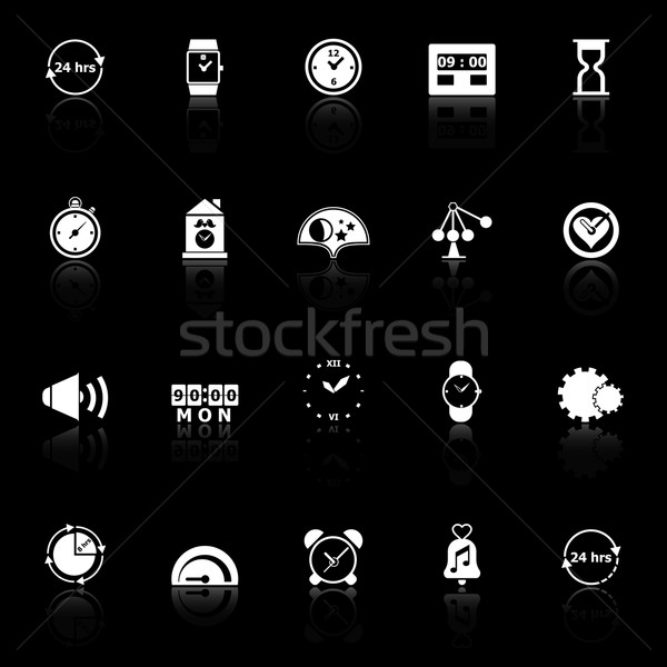 Time related icons with reflect on black background Stock photo © nalinratphi