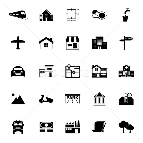 Real estate icons on white background Stock photo © nalinratphi