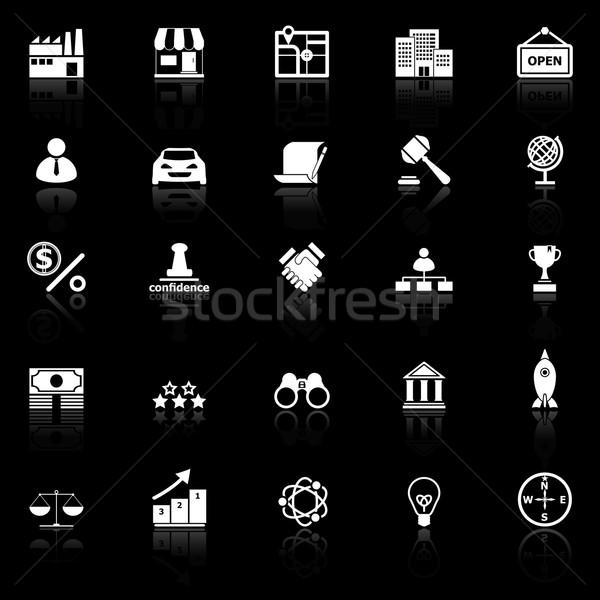Franchise icons with reflect on black background Stock photo © nalinratphi