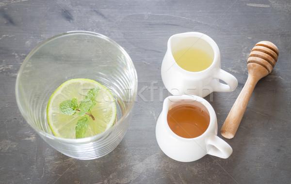 Csésze méz citrus egészséges ital stock Stock fotó © nalinratphi