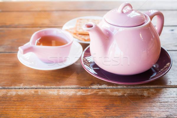 Beker thee theepot voorraad foto voedsel Stockfoto © nalinratphi