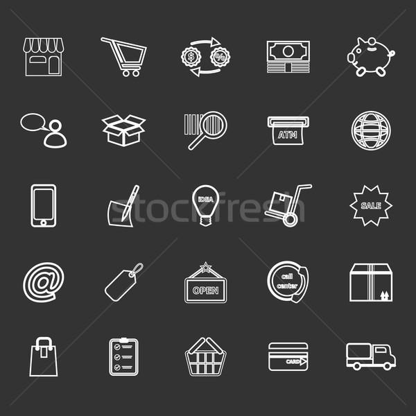 Internet entrepreneur line icons on gray background Stock photo © nalinratphi