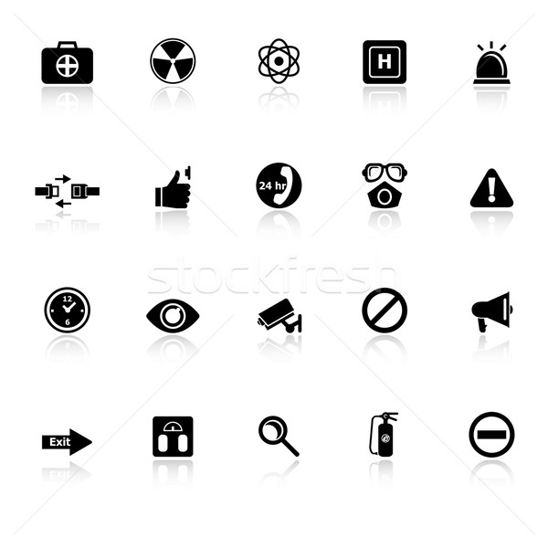 General healthcare icons with reflect on white background Stock photo © nalinratphi