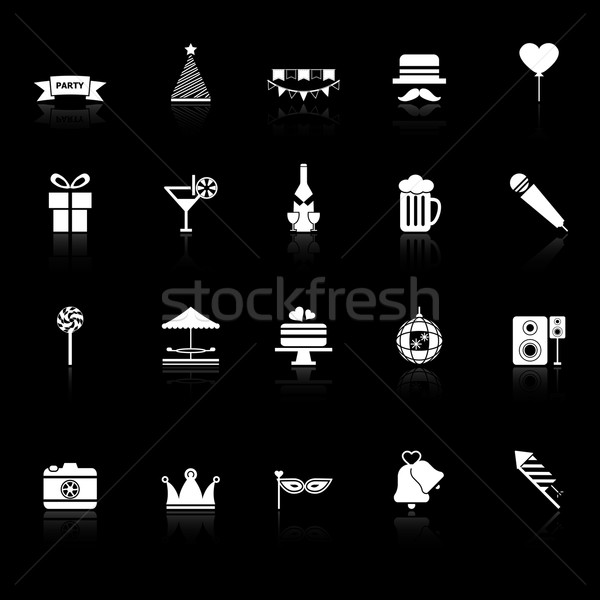 Tempo de festa ícones preto estoque vetor aniversário Foto stock © nalinratphi