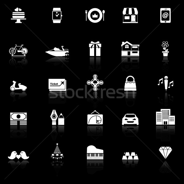 Birthday gift icons with reflect on black background Stock photo © nalinratphi