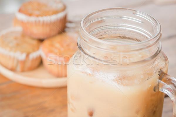 Banana muffins ghiacciato caffè stock foto Foto d'archivio © nalinratphi