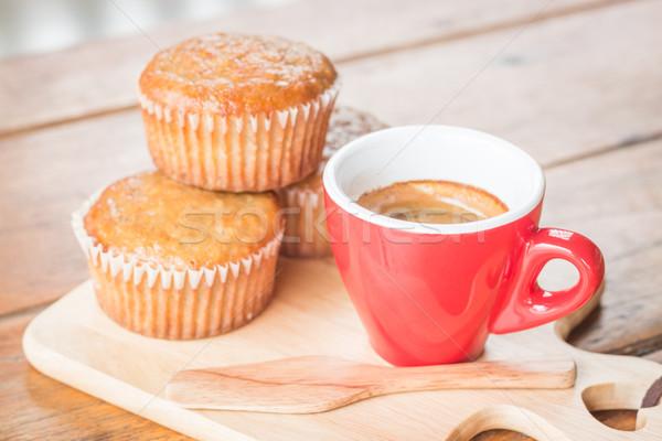 Muz fincan kek espresso stok fotoğraf Stok fotoğraf © nalinratphi