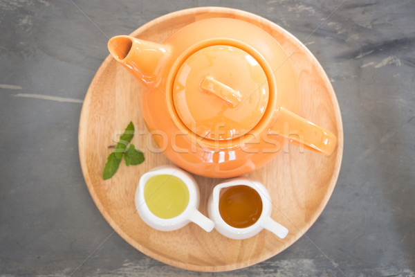 Hot pot of honey lime healthy drink Stock photo © nalinratphi