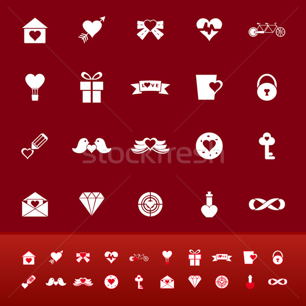 Love color icons on red background Stock photo © nalinratphi