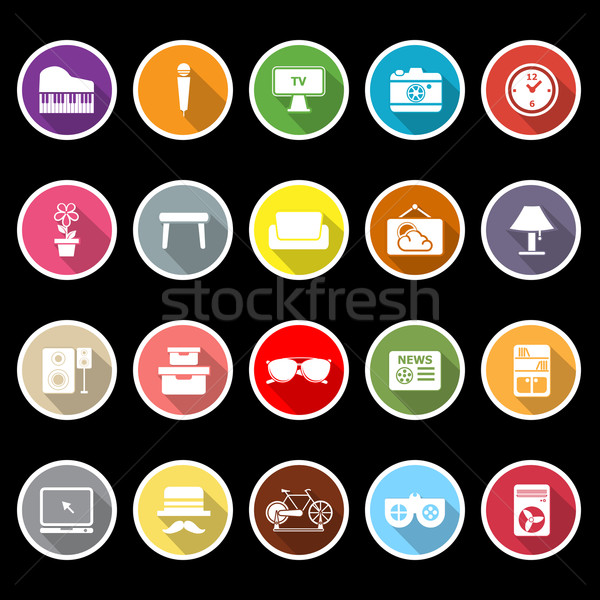 Living room icons with long shadow Stock photo © nalinratphi