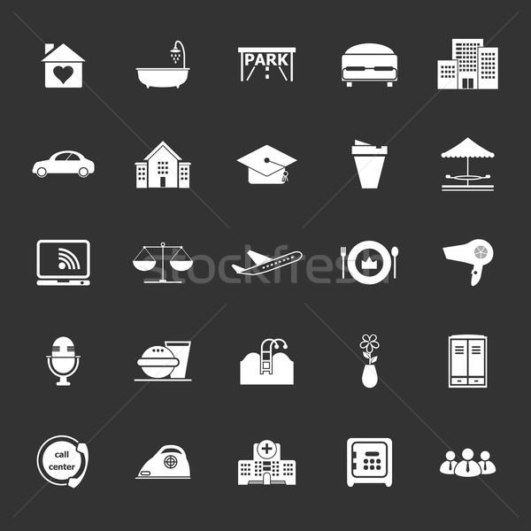 гостеприимство бизнеса иконки серый складе вектора Сток-фото © nalinratphi