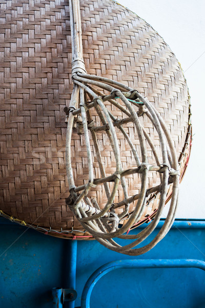 Wicker long handled fruit picker used in fruit orchards Stock photo © nalinratphi