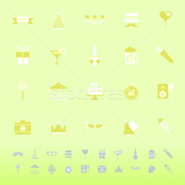 Hora de la fiesta color iconos verde stock vector Foto stock © nalinratphi