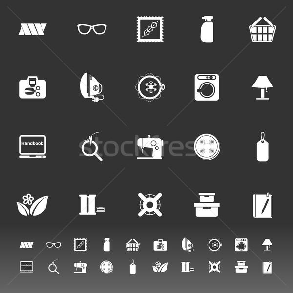 Coser tela iconos gris stock vector Foto stock © nalinratphi
