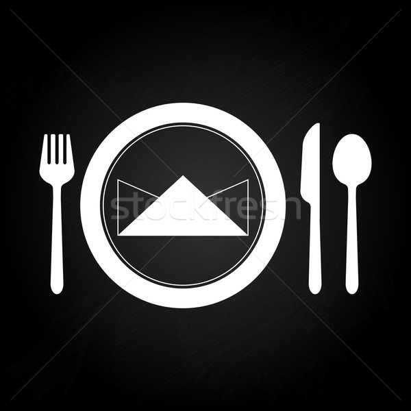 Ready dining table with spoon set Stock photo © nalinratphi