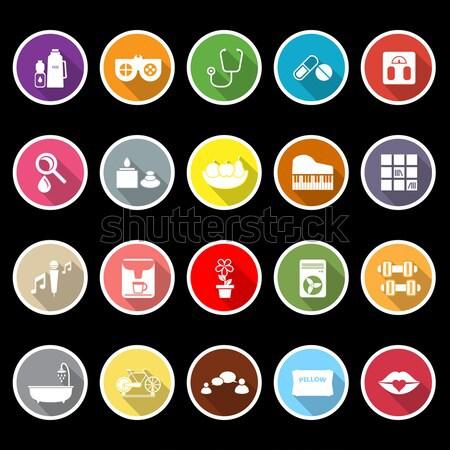 Health behavior flat icons on white background Stock photo © nalinratphi