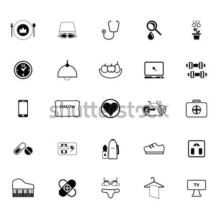 Lady related item flat icons on white background Stock photo © nalinratphi