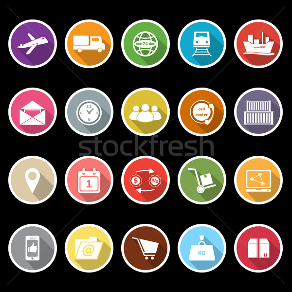 Logistic icons with long shadow Stock photo © nalinratphi