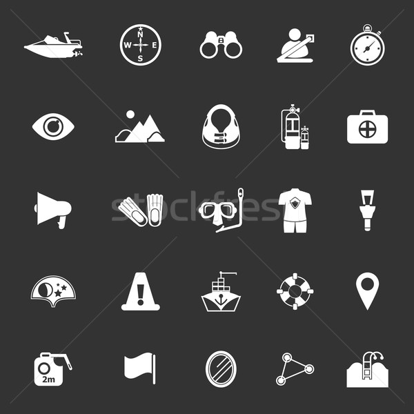 Waterway related icons on gray background Stock photo © nalinratphi