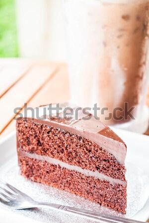 Keserű édes étel hideg kávé csokoládés sütemény Stock fotó © nalinratphi